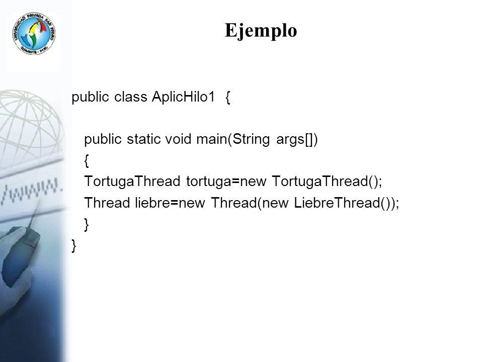 Ejemplo public class AplicHilo1 {