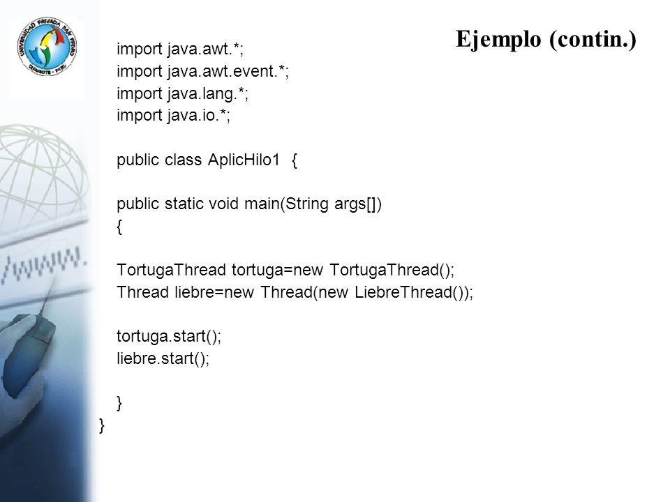 Ejemplo (contin.) import java.awt.*; import java.awt.event.*;
