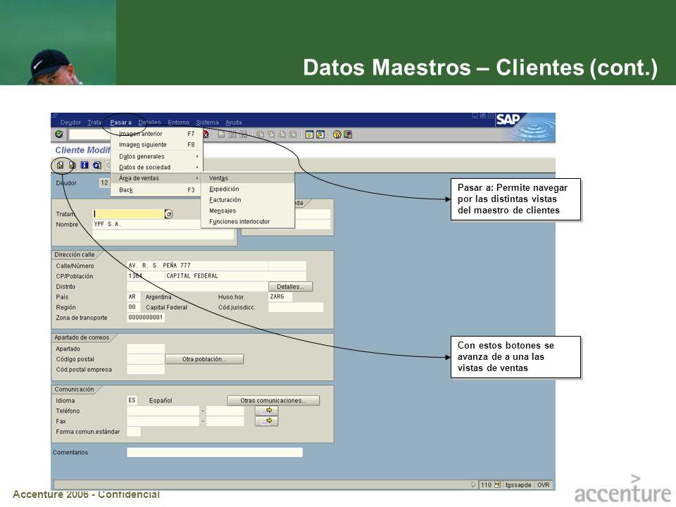 Datos Maestros – Clientes (cont.)