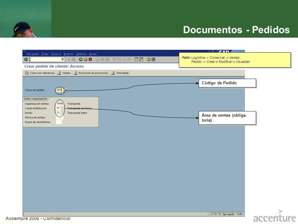 Documentos - Pedidos Código de Pedido Área de ventas (obliga-toria)