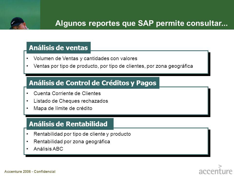 Algunos reportes que SAP permite consultar...