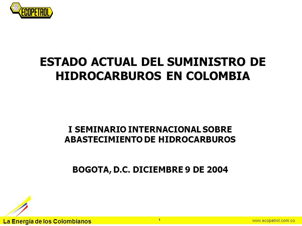 ESTADO ACTUAL DEL SUMINISTRO DE HIDROCARBUROS EN COLOMBIA
