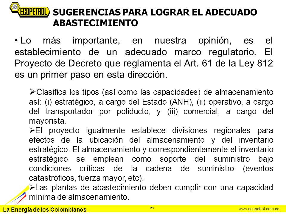 SUGERENCIAS PARA LOGRAR EL ADECUADO ABASTECIMIENTO