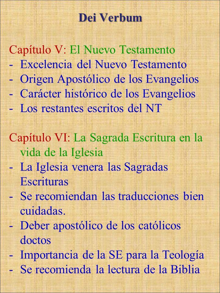 Dei VerbumCapítulo V: El Nuevo Testamento. Excelencia del Nuevo Testamento. Origen Apostólico de los Evangelios.