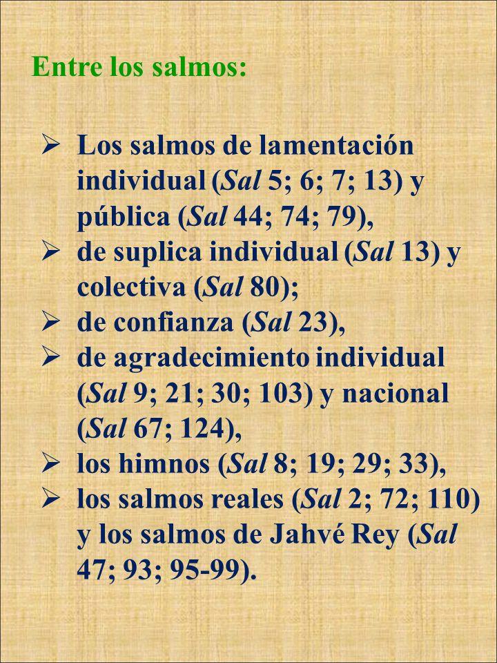 Entre los salmos:Los salmos de lamentación individual (Sal 5; 6; 7; 13) y pública (Sal 44; 74; 79),