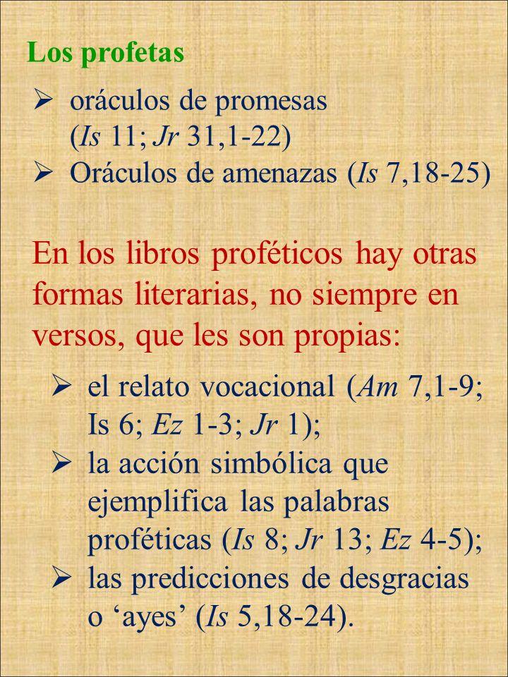 Los profetasoráculos de promesas. (Is 11; Jr 31,1-22) Oráculos de amenazas (Is 7,18-25)