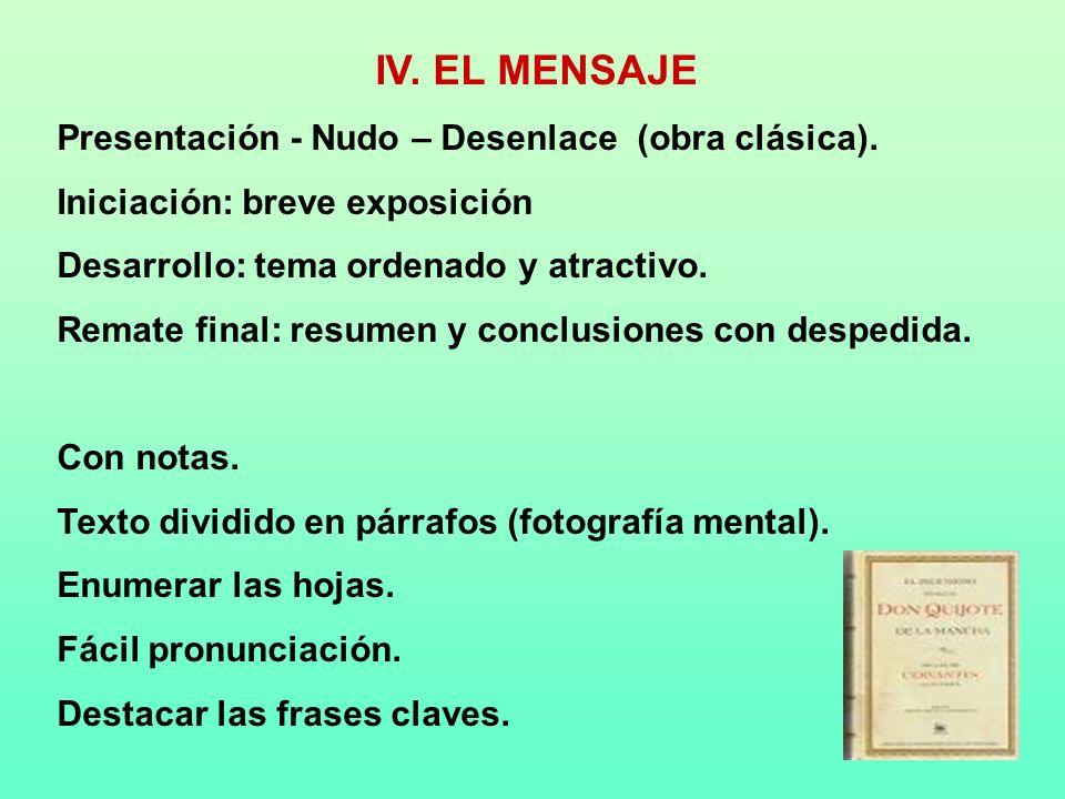IV. EL MENSAJE Presentación - Nudo – Desenlace (obra clásica).