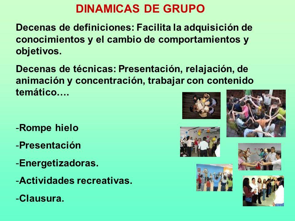 DINAMICAS DE GRUPO Decenas de definiciones: Facilita la adquisición de conocimientos y el cambio de comportamientos y objetivos.