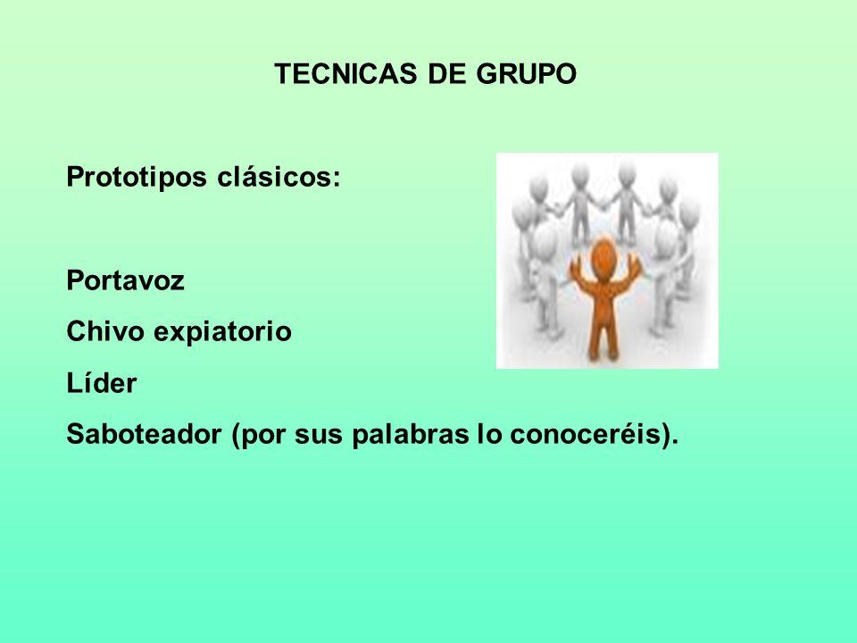 TECNICAS DE GRUPO Prototipos clásicos: Portavoz. Chivo expiatorio.