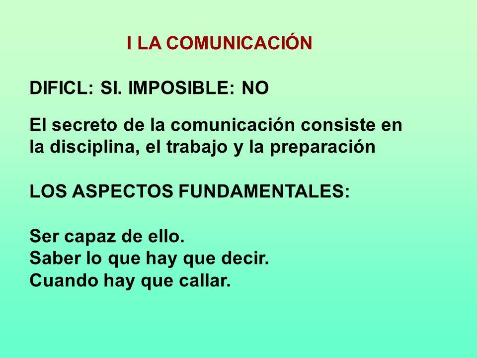 I LA COMUNICACIÓN DIFICL: SI. IMPOSIBLE: NO. El secreto de la comunicación consiste en la disciplina, el trabajo y la preparación.