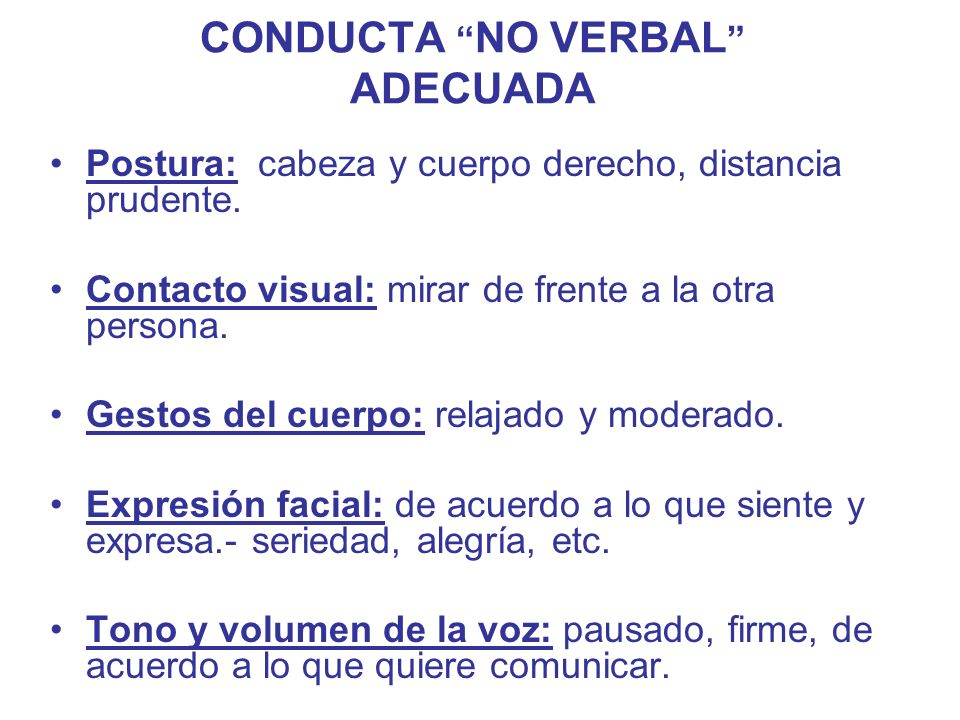 CONDUCTA NO VERBAL ADECUADA