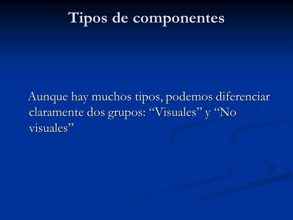 Tipos de componentes Aunque hay muchos tipos, podemos diferenciar claramente dos grupos: Visuales y No visuales