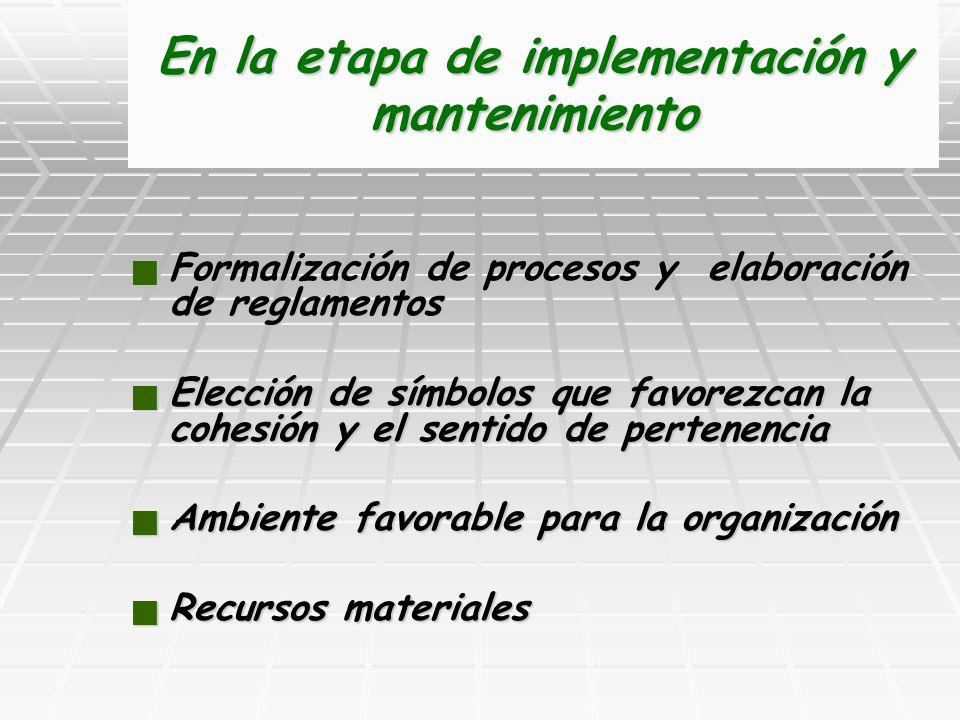 En la etapa de implementación y mantenimiento