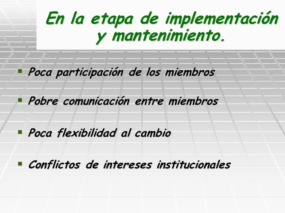 En la etapa de implementación y mantenimiento.