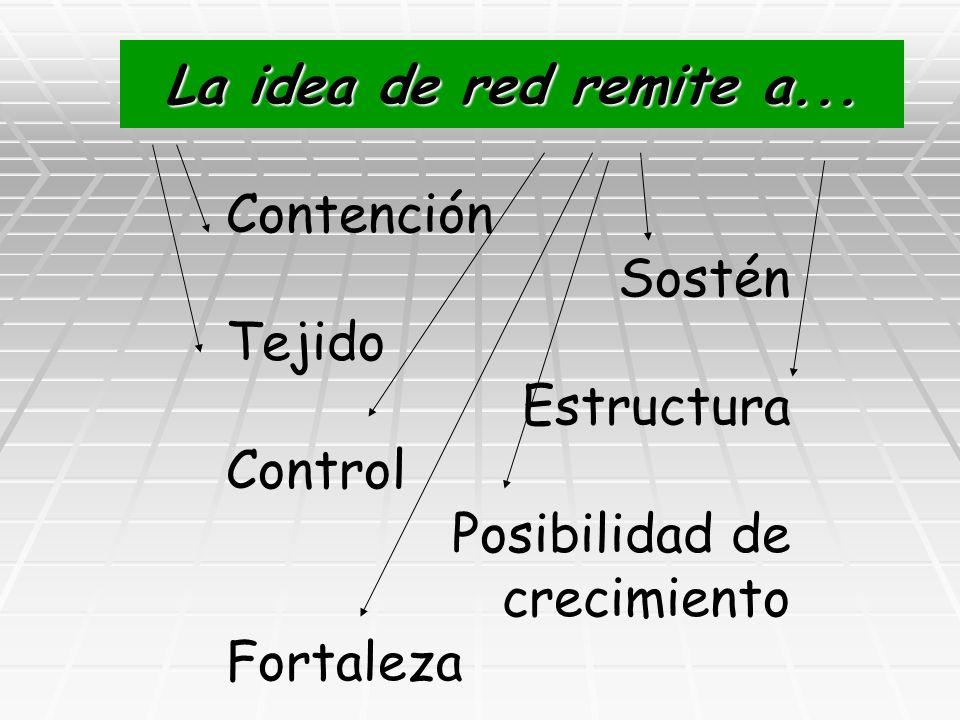 La idea de red remite a... Contención. Sostén. Tejido. Estructura. Control. Posibilidad de crecimiento.