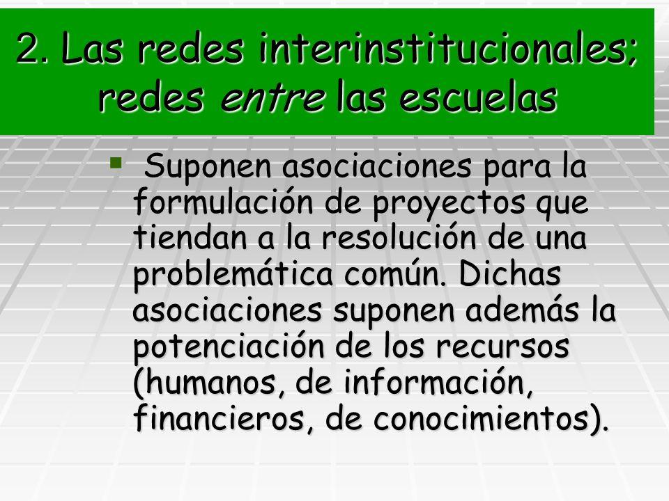 2. Las redes interinstitucionales; redes entre las escuelas