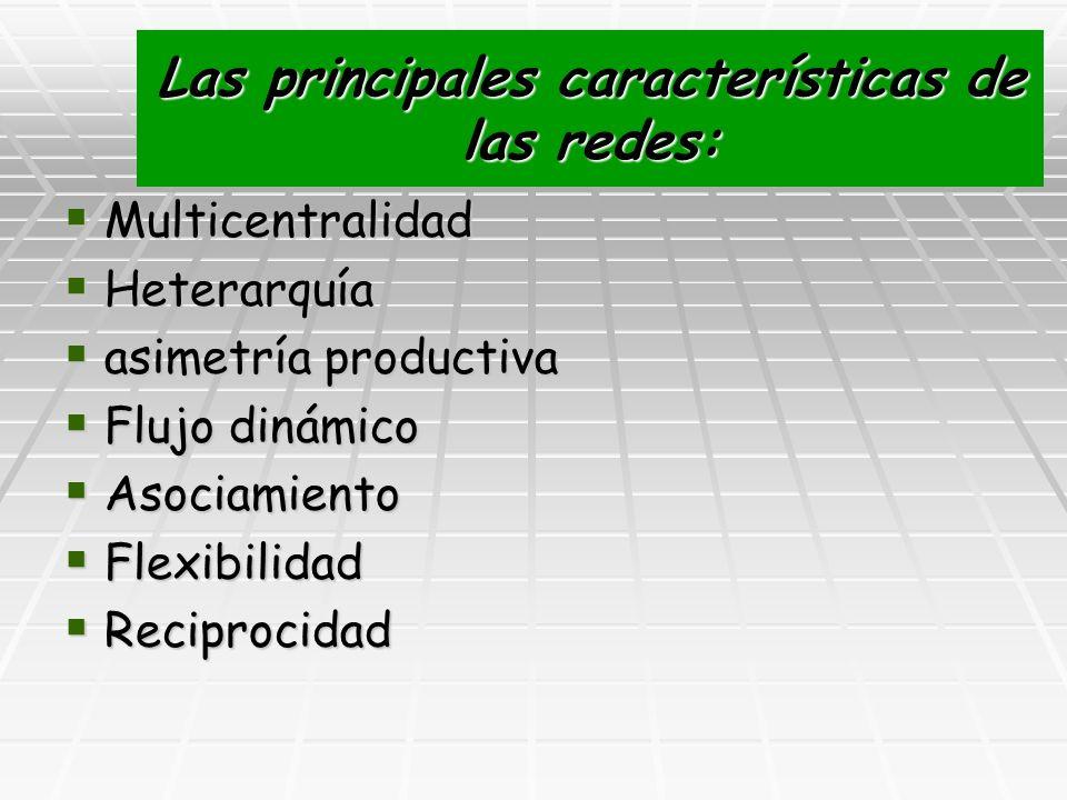 Las principales características de las redes: