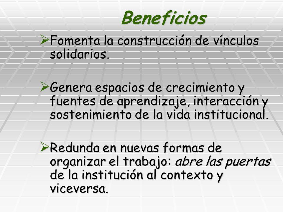 Beneficios Fomenta la construcción de vínculos solidarios.