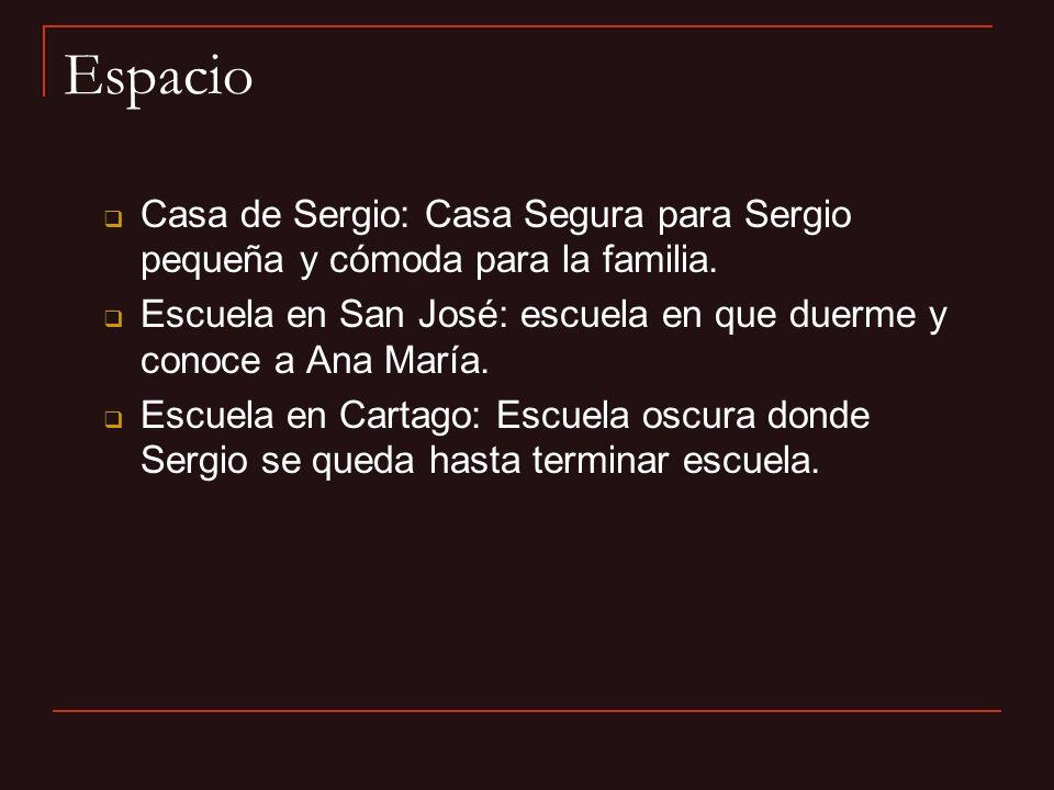Espacio Casa de Sergio: Casa Segura para Sergio pequeña y cómoda para la familia. Escuela en San José: escuela en que duerme y conoce a Ana María.