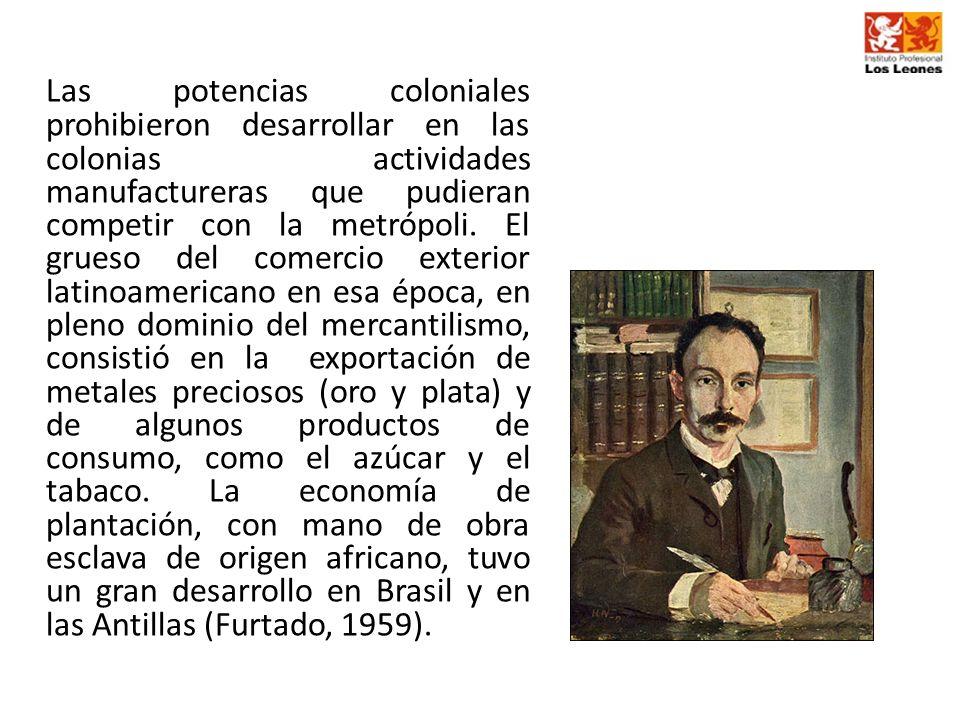 Las potencias coloniales prohibieron desarrollar en las colonias actividades manufactureras que pudieran competir con la metrópoli.