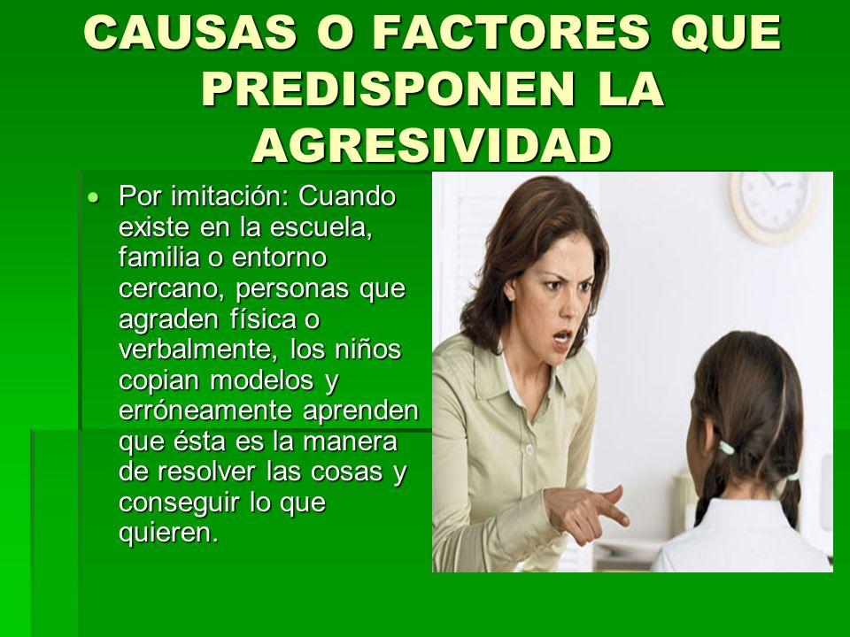 CAUSAS O FACTORES QUE PREDISPONEN LA AGRESIVIDAD