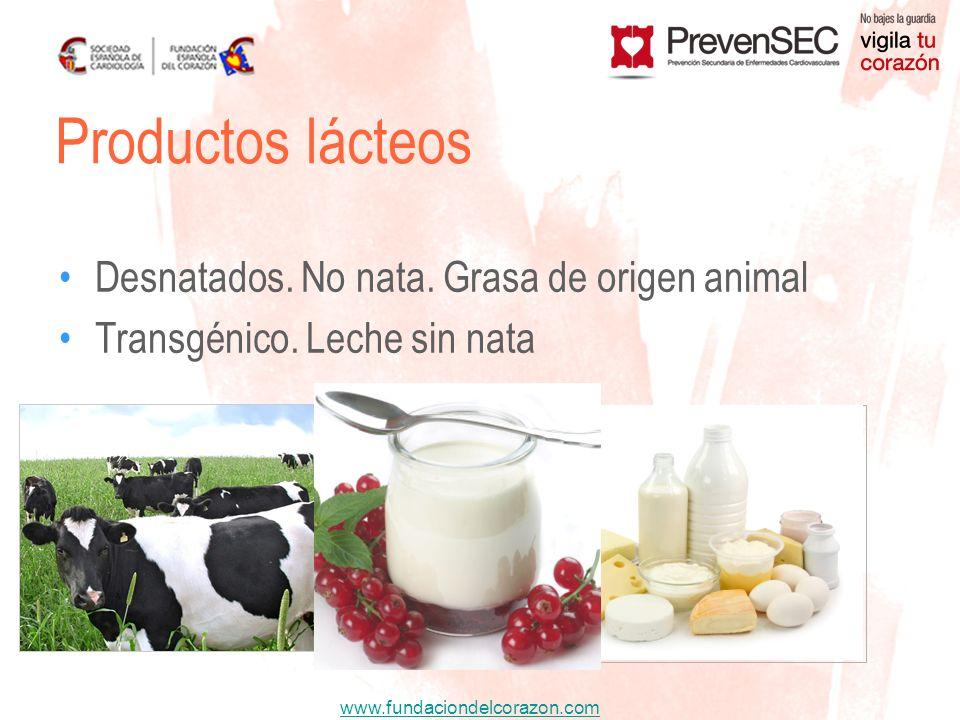 Productos lácteos Desnatados. No nata. Grasa de origen animal