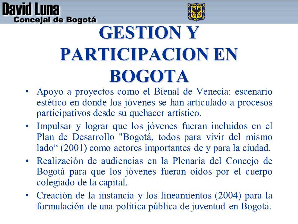 GESTION Y PARTICIPACION EN BOGOTA