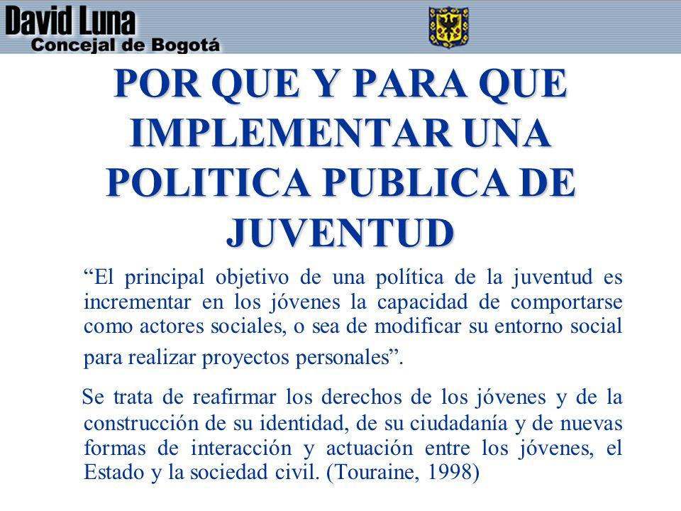 POR QUE Y PARA QUE IMPLEMENTAR UNA POLITICA PUBLICA DE JUVENTUD