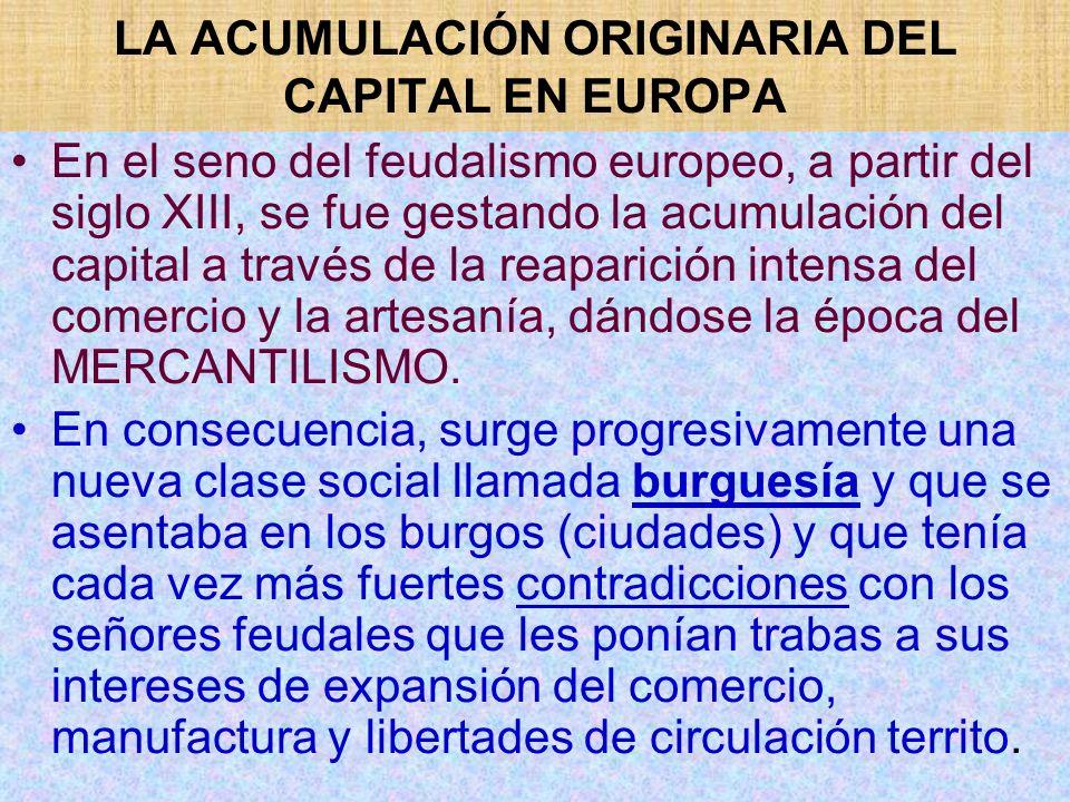 LA ACUMULACIÓN ORIGINARIA DEL CAPITAL EN EUROPA