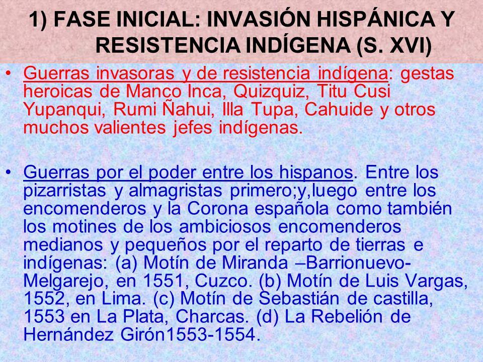 1) FASE INICIAL: INVASIÓN HISPÁNICA Y RESISTENCIA INDÍGENA (S. XVI)