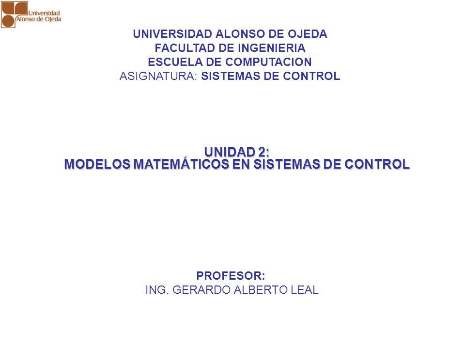 UNIDAD 2: MODELOS MATEMÁTICOS EN SISTEMAS DE CONTROL