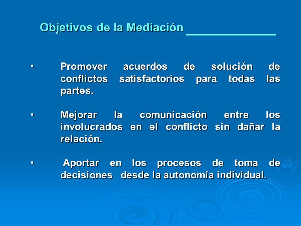 Objetivos de la Mediación