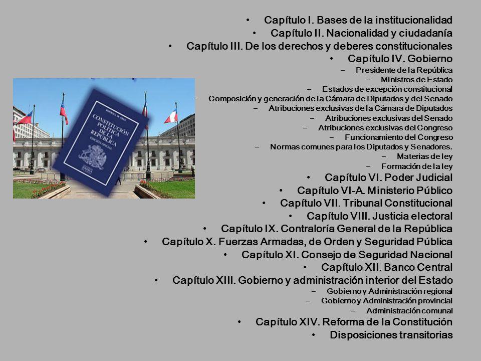 Capítulo I. Bases de la institucionalidad