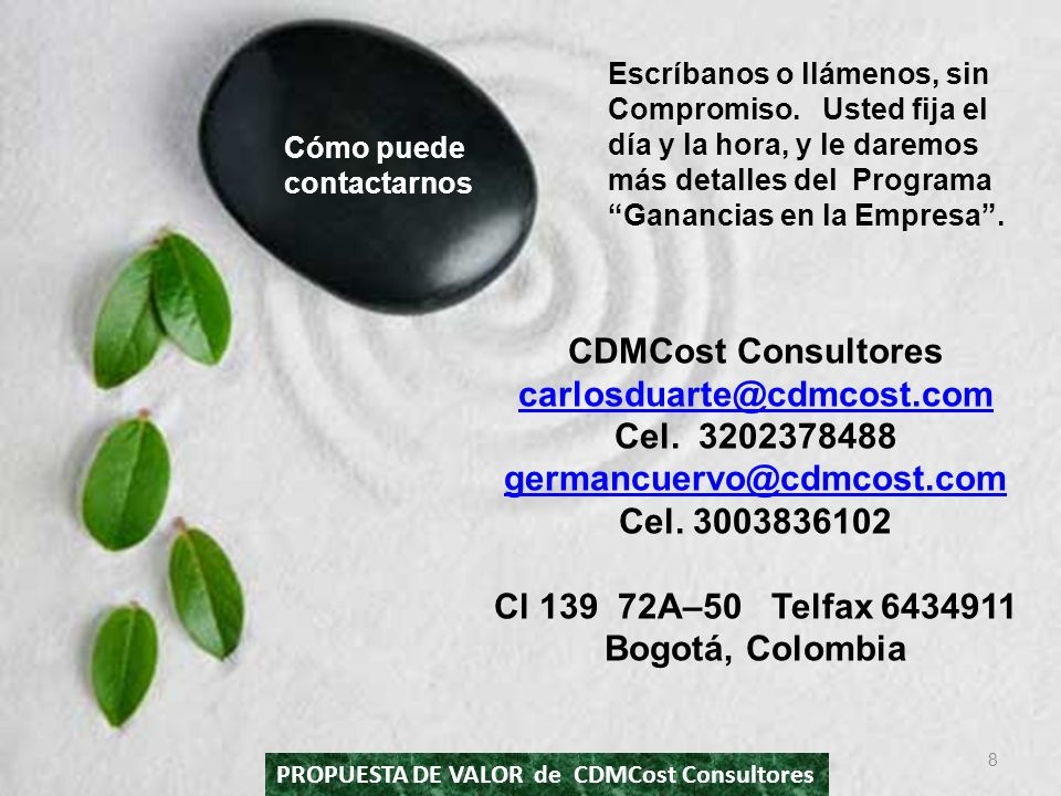 CDMCost Consultores carlosduarte@cdmcost.com Cel. 3202378488