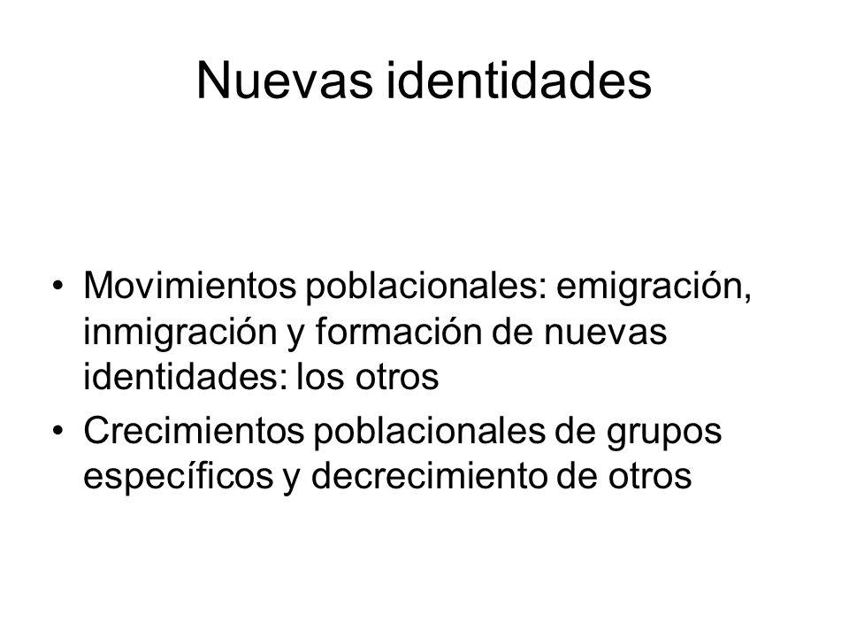 Nuevas identidades Movimientos poblacionales: emigración, inmigración y formación de nuevas identidades: los otros.