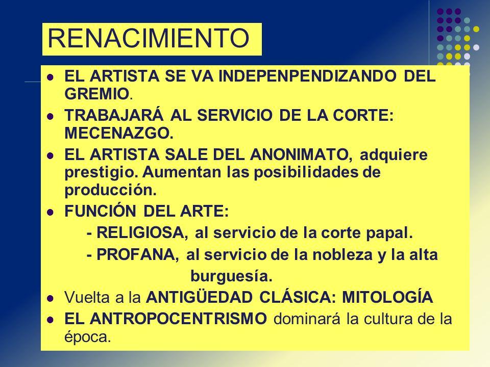 RENACIMIENTO EL ARTISTA SE VA INDEPENPENDIZANDO DEL GREMIO.