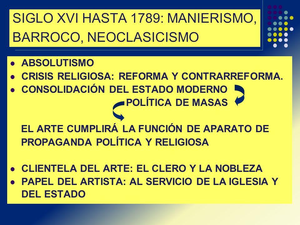SIGLO XVI HASTA 1789: MANIERISMO, BARROCO, NEOCLASICISMO