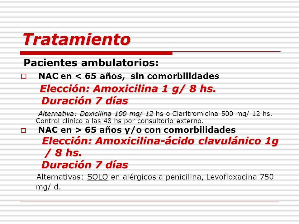 Tratamiento Elección: Amoxicilina 1 g/ 8 hs. Duración 7 días