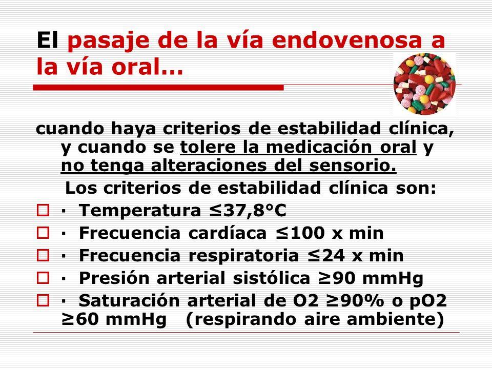El pasaje de la vía endovenosa a la vía oral…