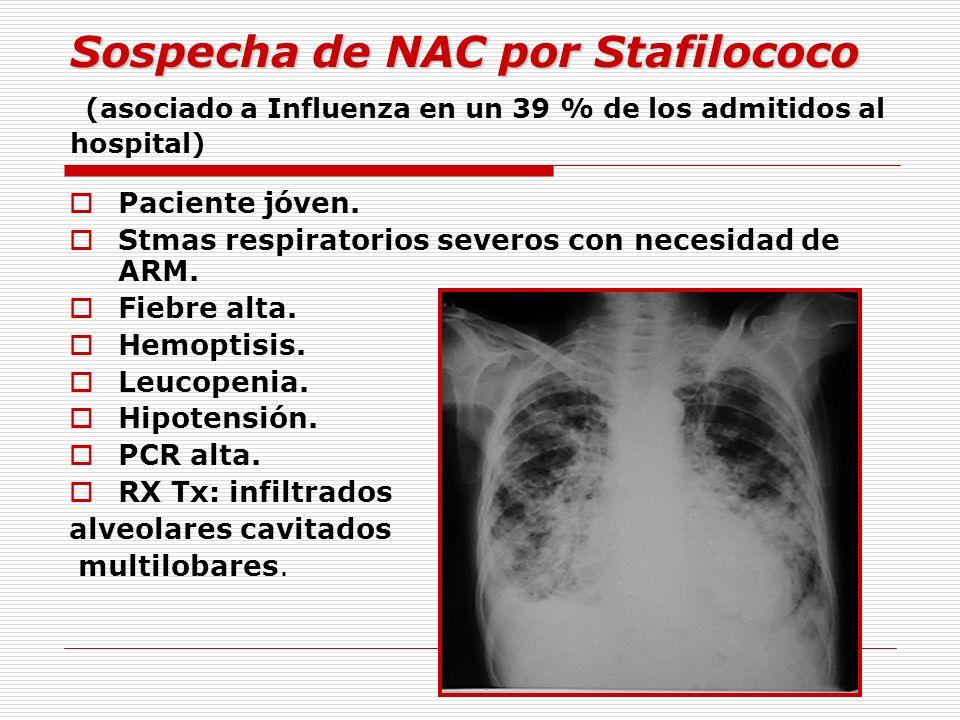 Sospecha de NAC por Stafilococo (asociado a Influenza en un 39 % de los admitidos al hospital)