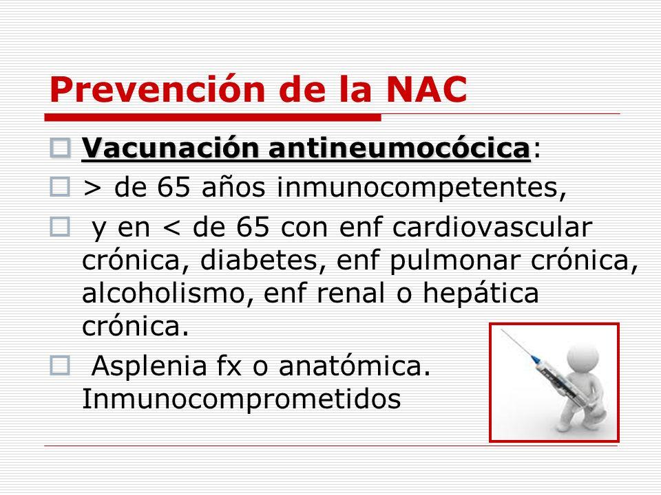 Prevención de la NAC Vacunación antineumocócica: