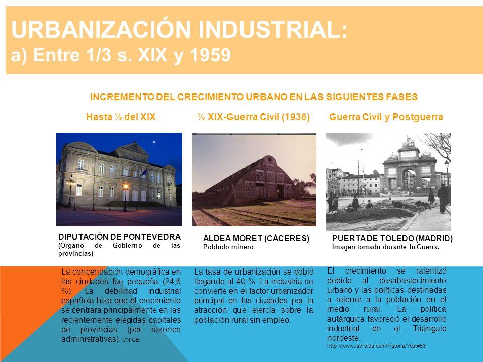 URBANIZACIÓN INDUSTRIAL: a) Entre 1/3 s. XIX y 1959