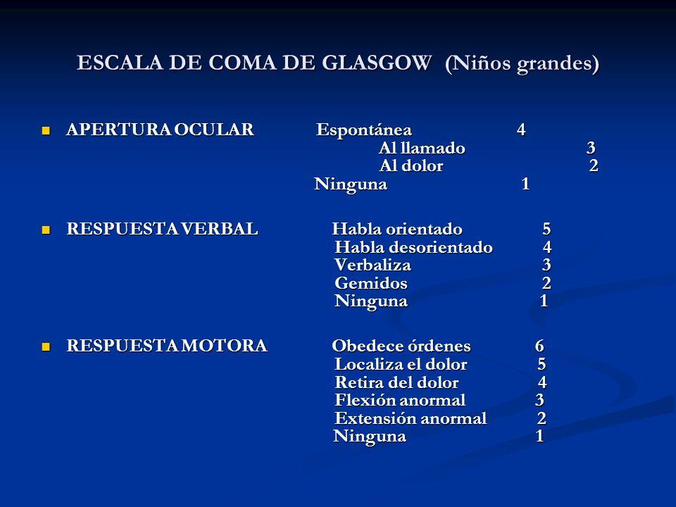 ESCALA DE COMA DE GLASGOW (Niños grandes)