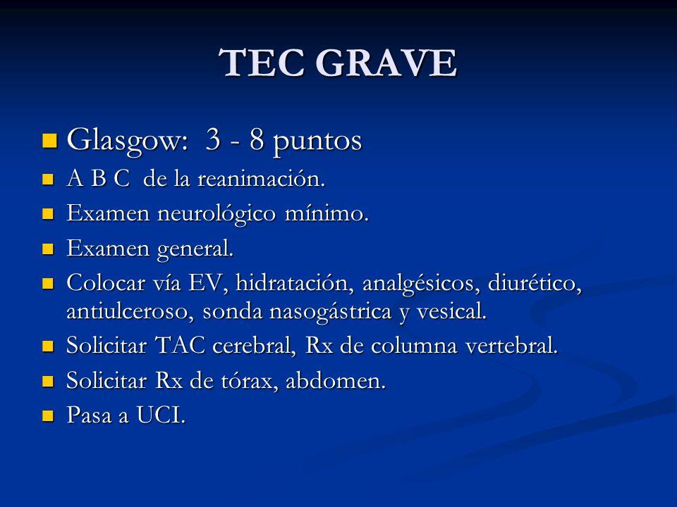 TEC GRAVE Glasgow: 3 - 8 puntos A B C de la reanimación.