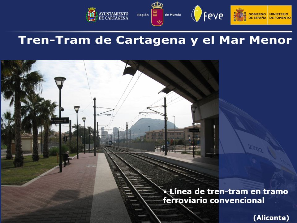 Línea de tren-tram en tramo ferroviario convencional