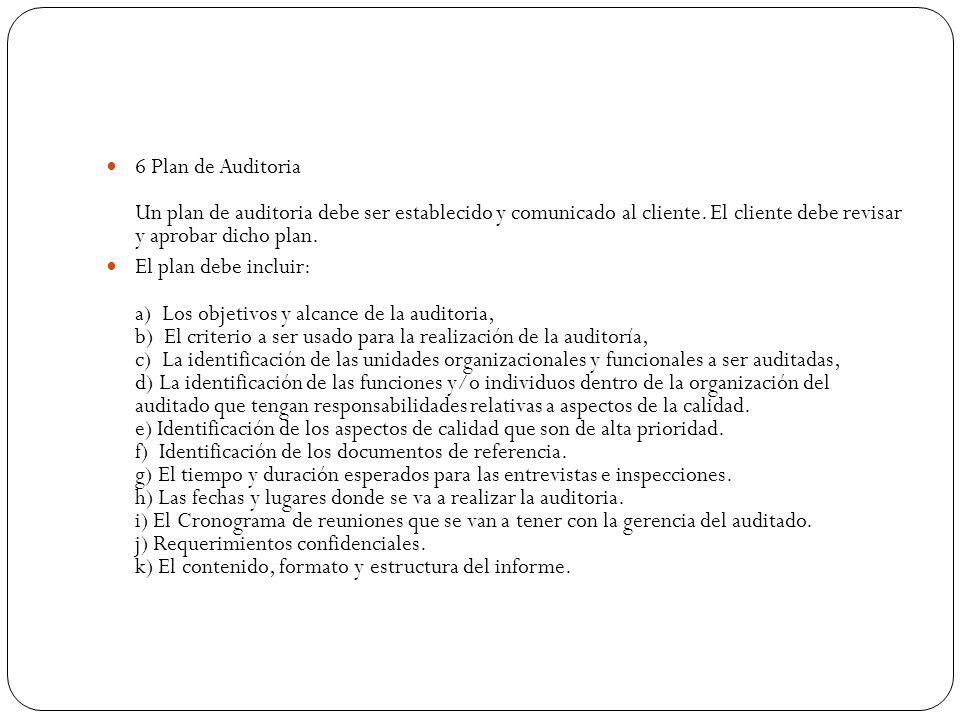 6 Plan de Auditoria Un plan de auditoria debe ser establecido y comunicado al cliente. El cliente debe revisar y aprobar dicho plan.