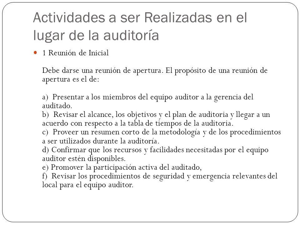 Actividades a ser Realizadas en el lugar de la auditoría