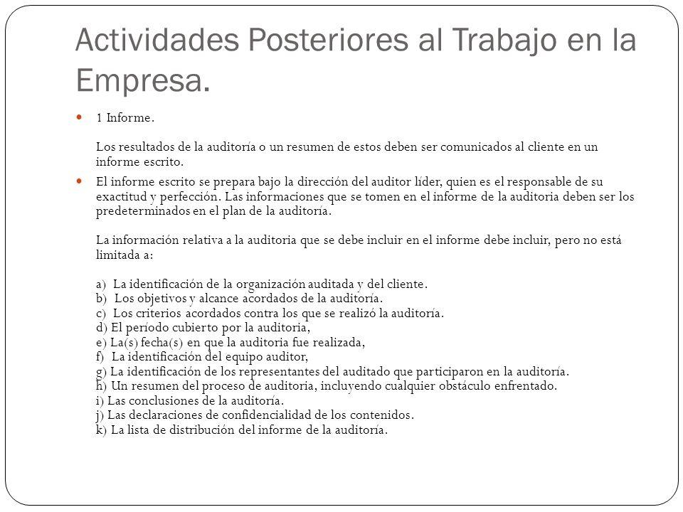 Actividades Posteriores al Trabajo en la Empresa.