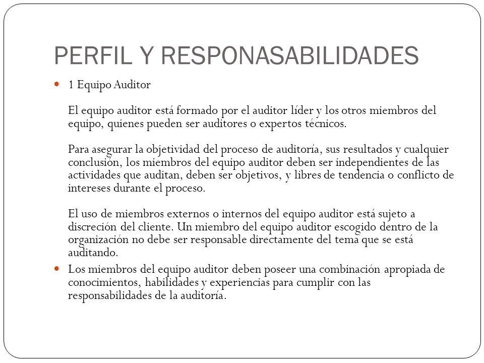 PERFIL Y RESPONASABILIDADES