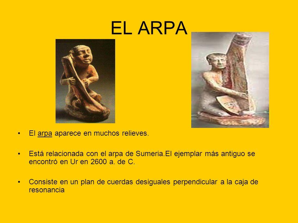 EL ARPA El arpa aparece en muchos relieves.